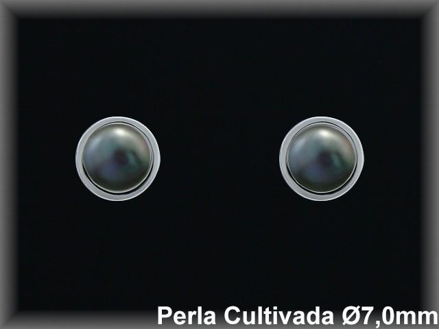 Pendientes plata rodio perla  cultivada      gris/circon-presión -
