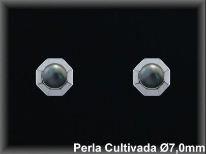 Pendientes plata rodio perla  cultivada     gris 7mm. /-presión -