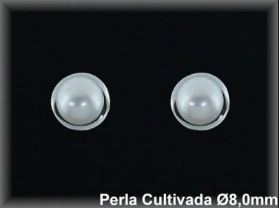 Pendientes plata rodio perla  cultivada     blanca 8mm. /-presión -