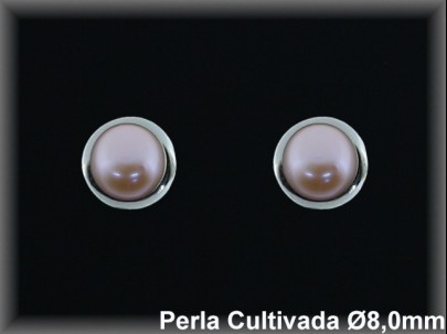 Pendientes plata rodio perla  cultivada     color 8mm. /-presión -