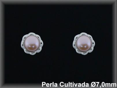 Pendientes plata rodio perla  cultivada     color 7mm. /-presión -