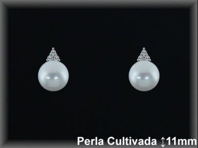 Pendientes plata rodio  circonitas perla  cultivada     blanca-presión -