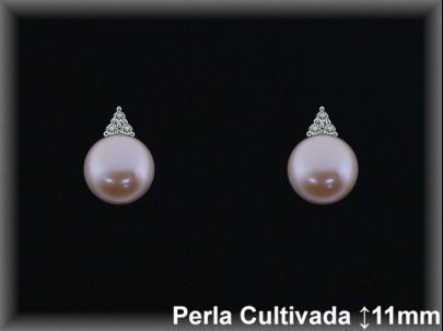 Pendientes plata rodio  circonitas perla  cultivada     color-presión -