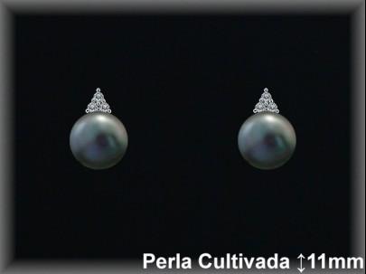 Pendientes plata rodio  circonitas perla  cultivada     gris-presión -