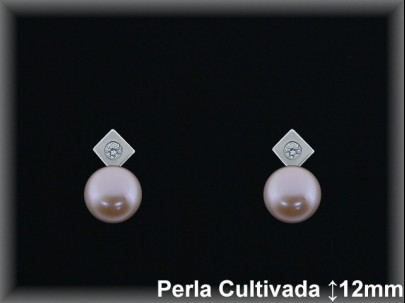 Pendientes plata rodio perla  cultivada     color /circon-presión -