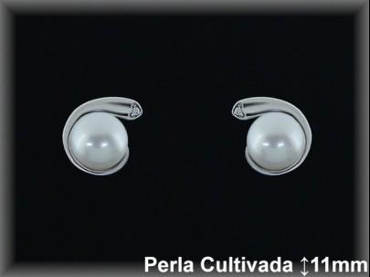 Pendientes plata rodio perla  cultivada     blanca