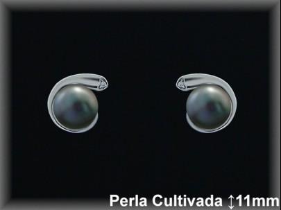 Pendientes plata rodio perla  cultivada     gris