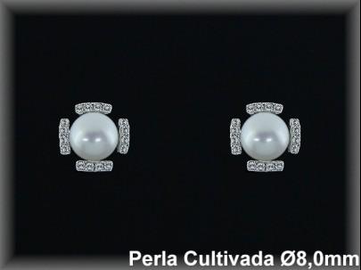 Pendientes plata rodio perla  cultivada     blanca circonita 8mm. -presión