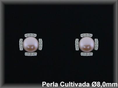 Pendientes plata rodio perla  cultivada     color circ 8mm. -presión