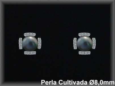 Pendientes plata rodio perla  cultivada     gris circonita  8mm. -presión