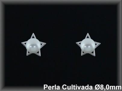 """Pendientes plata rodio """"estrella"""" perla  cultivada     blanca 8mm. -presión -"""