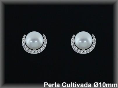 Pendientes plata rodio perla  cultivada   blanca /circ. 10mm.Ø-pres-.