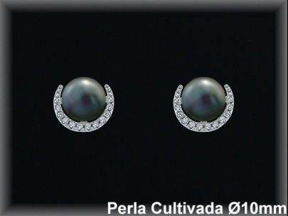 Pendientes plata rodio perla  cultivada     grís./circ. 10mm.Ø-pres-.