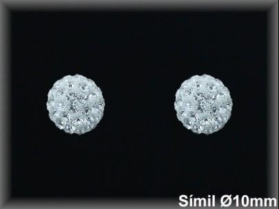 Pendientes plata bola todo cristal simil 10 mm