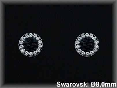 Pendientes plata círculo cr. swarovskiblanca /negro 8  mm