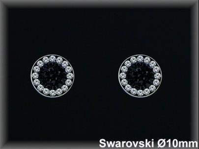 Pendientes plata círculo cr. swarovskiblanca /negro 10  mm