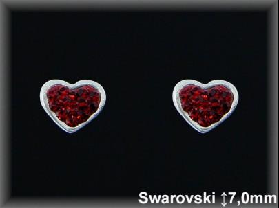 Pendientes plata corazón cr. swarovski  rojo 7X9 mm