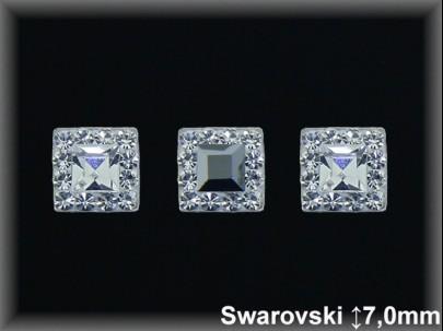 Pendientes presión cuajado cr.swarovski 7x7mm,grafito/blanca ,