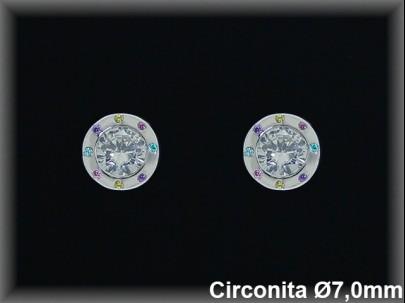 Pendientes plata rodio  circonitablanca /color redondo  7.0 mm.-pres-.