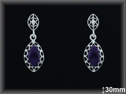 """Pendientes plata piedra sint. violeta """"hoja""""-presión -"""