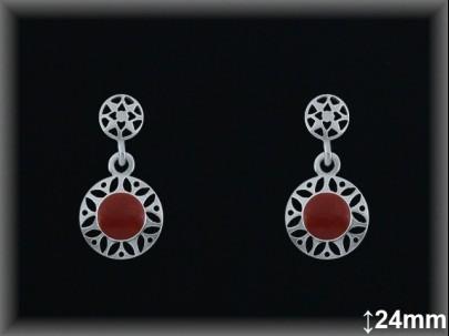 Pendientes plata piedra sint. rojo coral redondo -presión -
