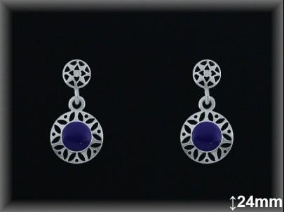 Pendientes plata piedra sint. azul lapislázuli redondo -presión -