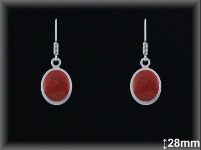 Pendientes plata piedra sint. rojo coral oval