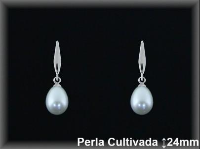 Pendientes plata rodio   perla  cultivada    blanca.-presión -