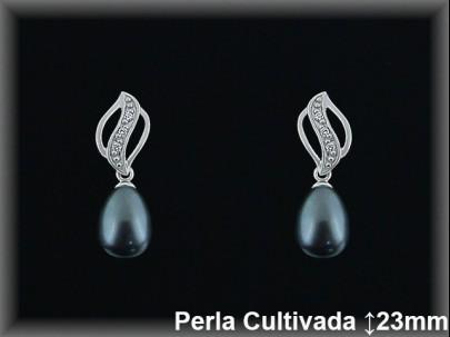 Pendientes plata rodio perla  cultivada     gris/circonitas -presión