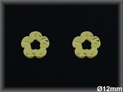 Pendientes plata  chapado  oro  flor-presión -