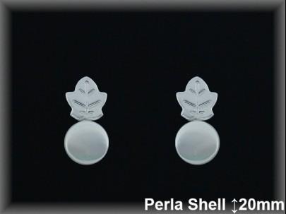 Pendientes Plata 925 hoja vida perla ref SPR008 Movegranada