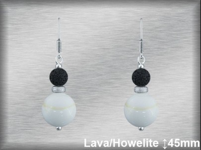 Pendientes plata 2 bolas 8-12 mm-lava/howelite blanco.-