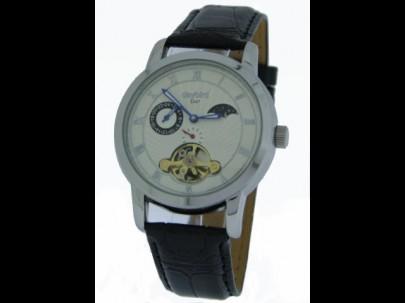 Reloj acero piel negra esfera blanca automatico calendario lunar 41mm T1/1
