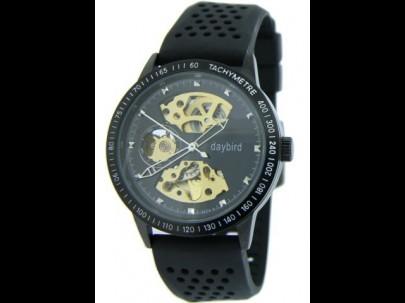 Reloj acero cauc negro esfera negra automa  43mm T1/1
