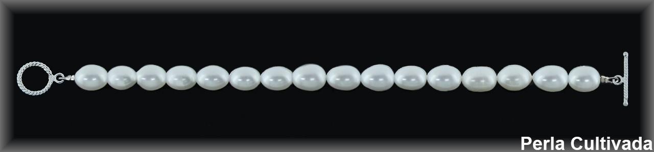 """Pulseras perlas cultivadas 7-8 x9x10 mm. """"cierre aro/palo""""."""