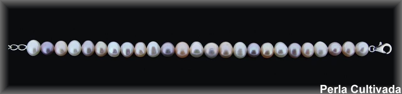 Pulseras perlas  cultivada    s cal.extra- color rosa mixto 8-9 mm engarzado en hilo.-c.plata-