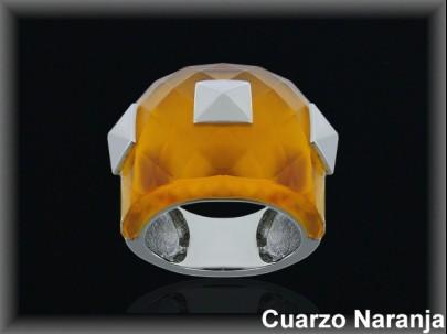 Anillo plata rodio cuarzo hidrotermal .n-caramelo facetado