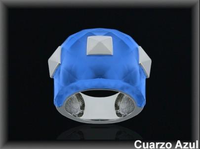 Anillo plata rodio cuarzo hidrotermal .azul facetado