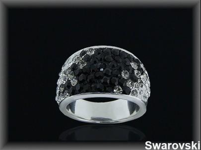 Anillo plata swarovski negro/gris/blanco ajustador