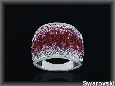 Anillo plata cr swarovski ajustador rosa-rojo