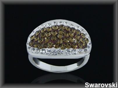 Anillo plata cr.swarovski bronce/bl