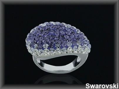 Anillo plata cr.swarovski violeta/blanca