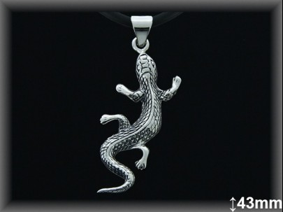 Colgantes plata oxido. Gecko 43mm.cad7069
