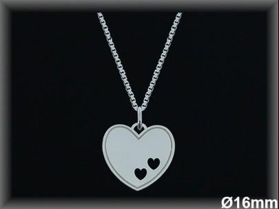 Colgantes plata lisa corazón 2 corazoncitos calados-16 mm- cad 7300A