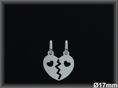 Colgante plata corazón partido 2 corazones calados 17mm.