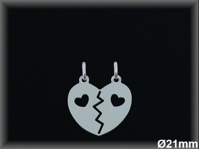 Colgante plata corazón partido 2 corazones calados  21m.