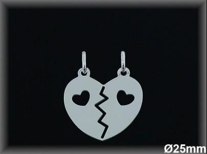 Colgante  plata corazón partido 2 corazones calados 25m.