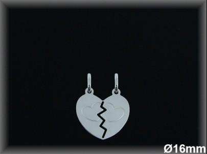 Colgantes plata lisa corazón partido 2 corazoncitos grabados -16 mm-