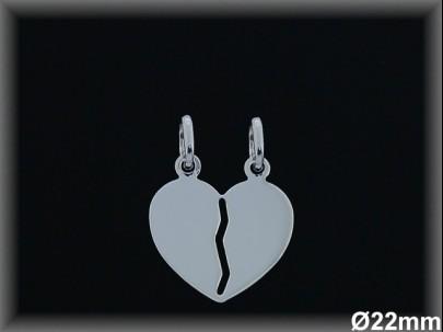 Colgantes plata lisa corazón partido-22mm-