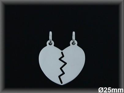 Colgantes plata lisa corazón partido-25 mm-